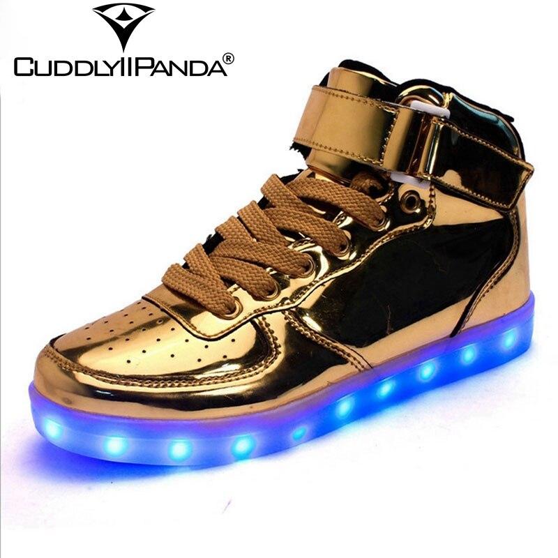 7 Colores 2017 Zapatos de Oro y Plata Con Luz LED Emisión de Charol Zapatos Ocas