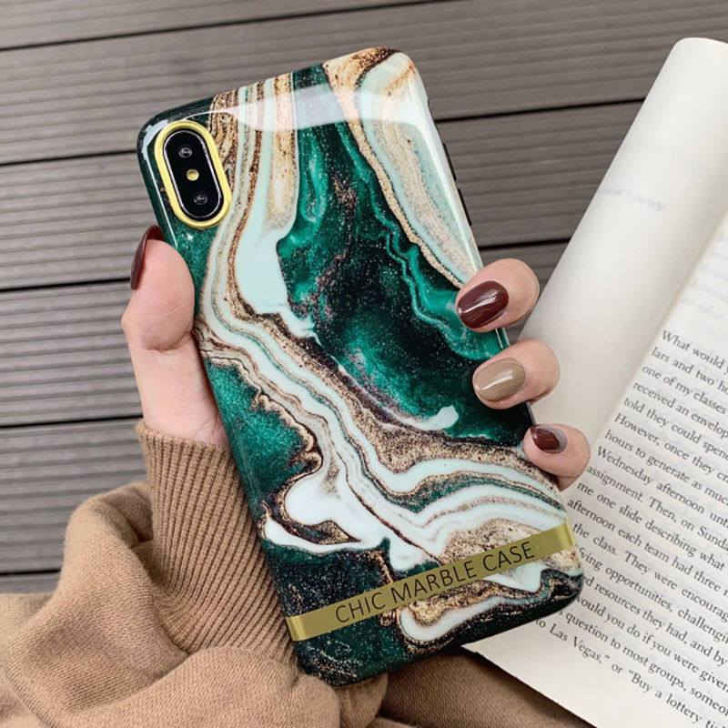 Fashion Artistic Agate Marble Gold Bar Phone Case For Iphone XS XR XS Max 6 6S 7 8 Plus Glossy Soft Silicon Case Back Cover Capa (US STOCK)