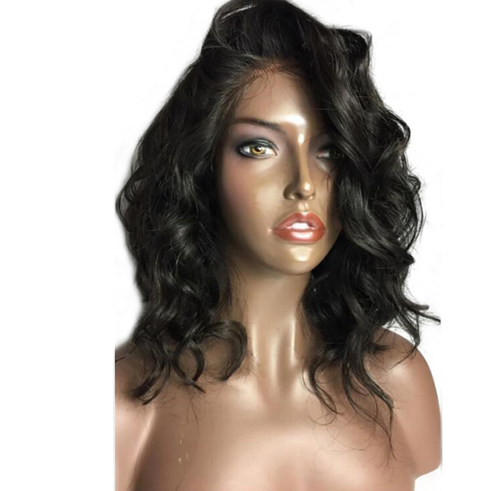Brazilian Less Lace Front Full Wig Bob Wave Black Natural Looking Women Wigs 2U81016