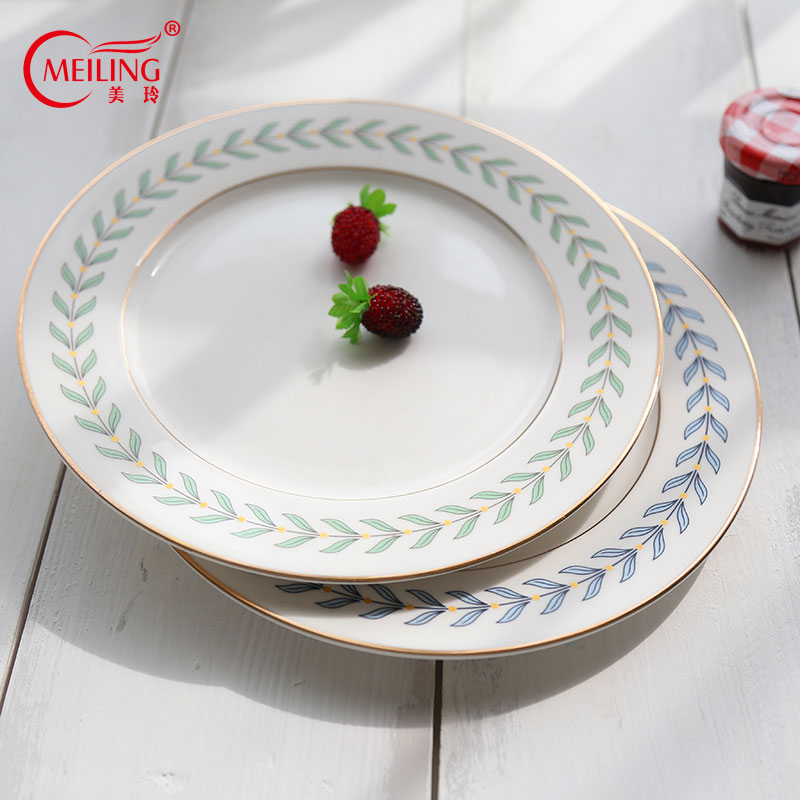 Korean Style Ceramic Leaf Plates Gold Rim Vintage Dinner Serving Dish Plate For Dessert Cake Birthday Wedding Housewarming Gifts