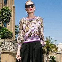 Шелк печати фонарь рукав свободные Пуловеры Блузка 2018 новый для подиума Женская летняя обувь рубашки высокого качества офис леди большие р