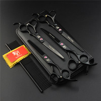5Pcs/set 7 Inch Pet Dog Grooming Scissors for Dogs Straight Thinning Curved Professional Haircut Scissors Set
