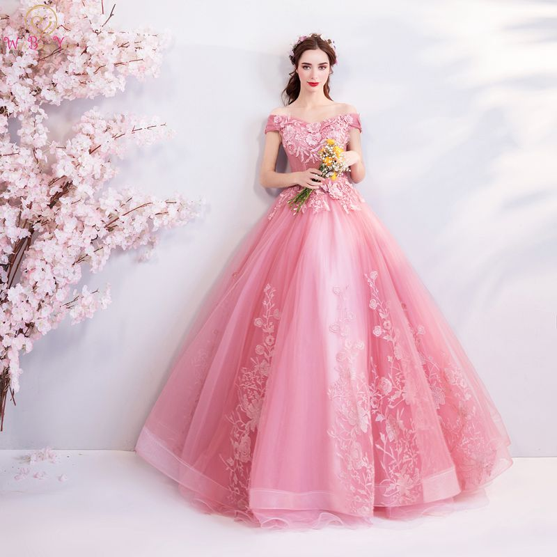 Ball-Gown Prom-Dresses Evening-Gowns Sweetheart Beside-You Pink Off-Shoulder Appliques title=