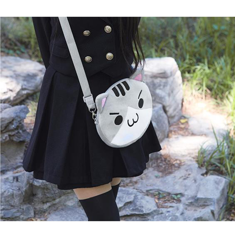 цена на New Arrival Women Girls Lolita Cosplay Shoulder Bag Kawaii 3D Cat White/Gray Colors Cartoon Messenger Bags Plush Coin Purse