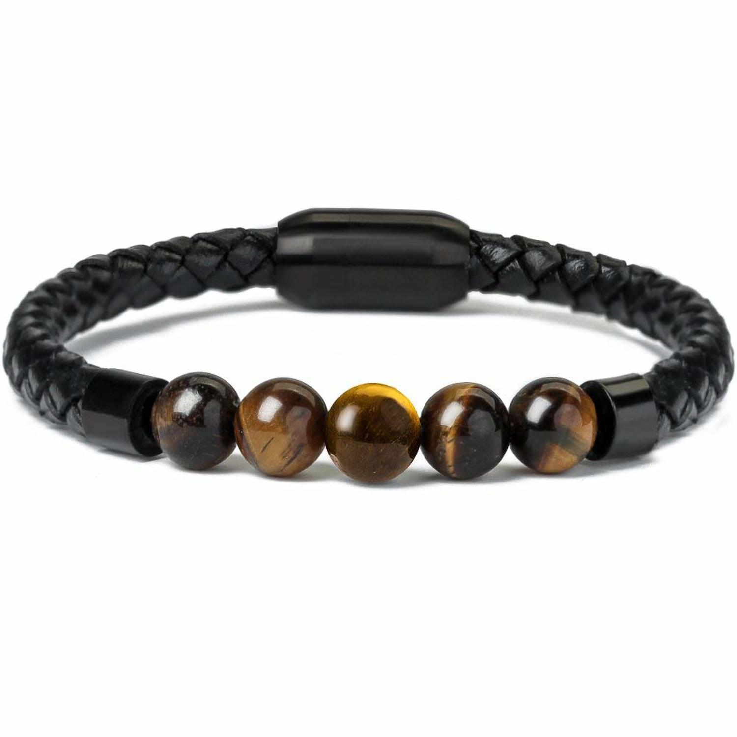 Fashion Charm Men Leather Stainless Bracelet
