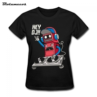 HEY DJ Letter Print Cool Robot 2017 Fashion Summer Women T Shirt Casual Solid Cotton Short