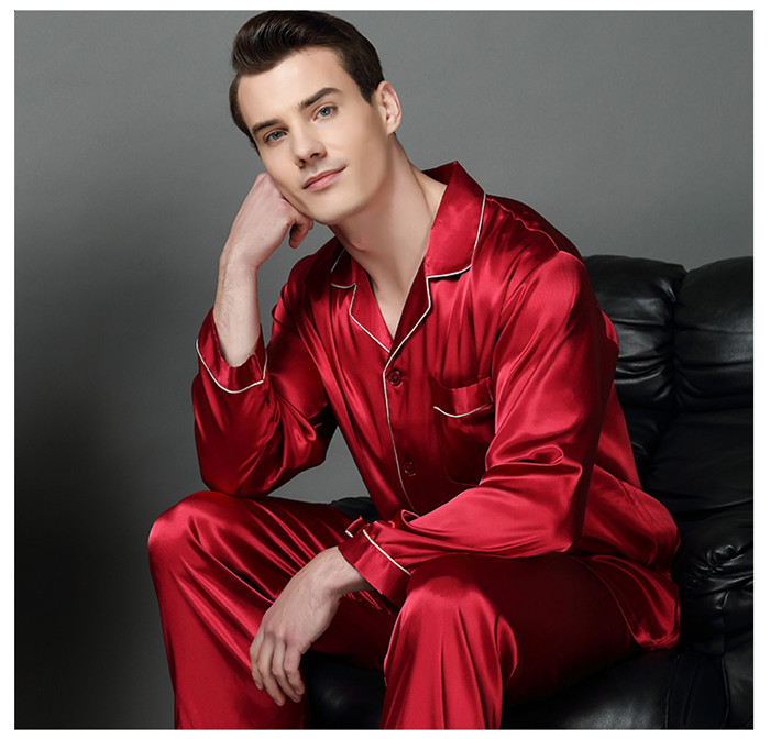 Luxury Spring Mens Silk Pajama Set Pajamas Men Sleepwear Modern Style Silk Nightgown Home Male Satin Soft Cozy For Sleeping