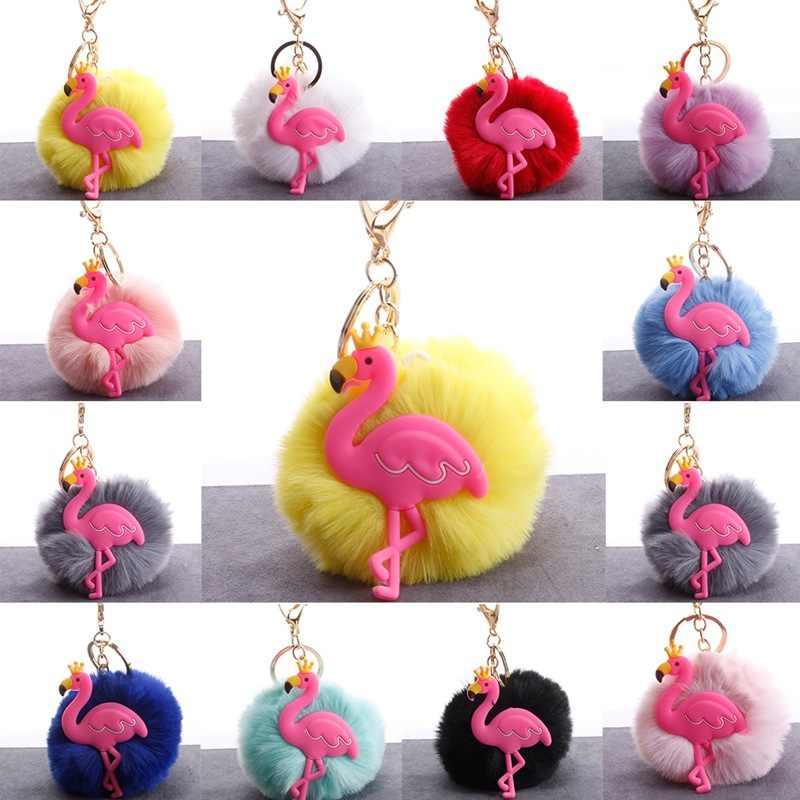 ... Flamingos Silicone Crown Keychain Rabbit Fur Ball Baby Toy Car Key  Holder Bag Pendant Charm Accessories ... c089ea144c2f7