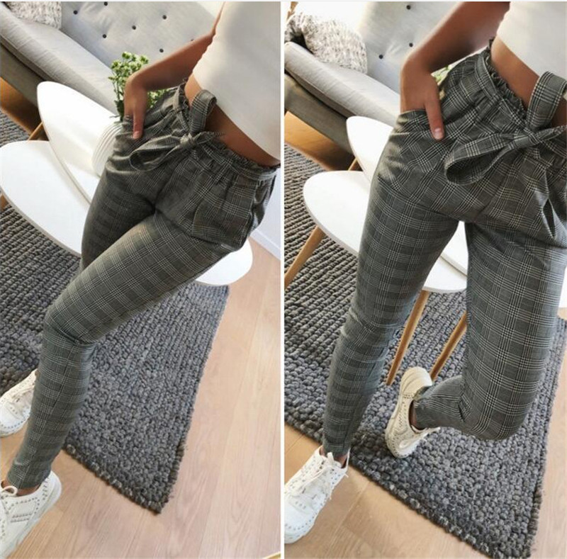 New Fashion spring Vintage gray grid casual pants women pants trousers female streetwear capris summer pants