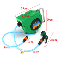 10m With Pvc Tube Inside Diameter 8 Outer Diameter 12 Automatic Retractable Water Drum Hose Reel With Spray forGun To Watering