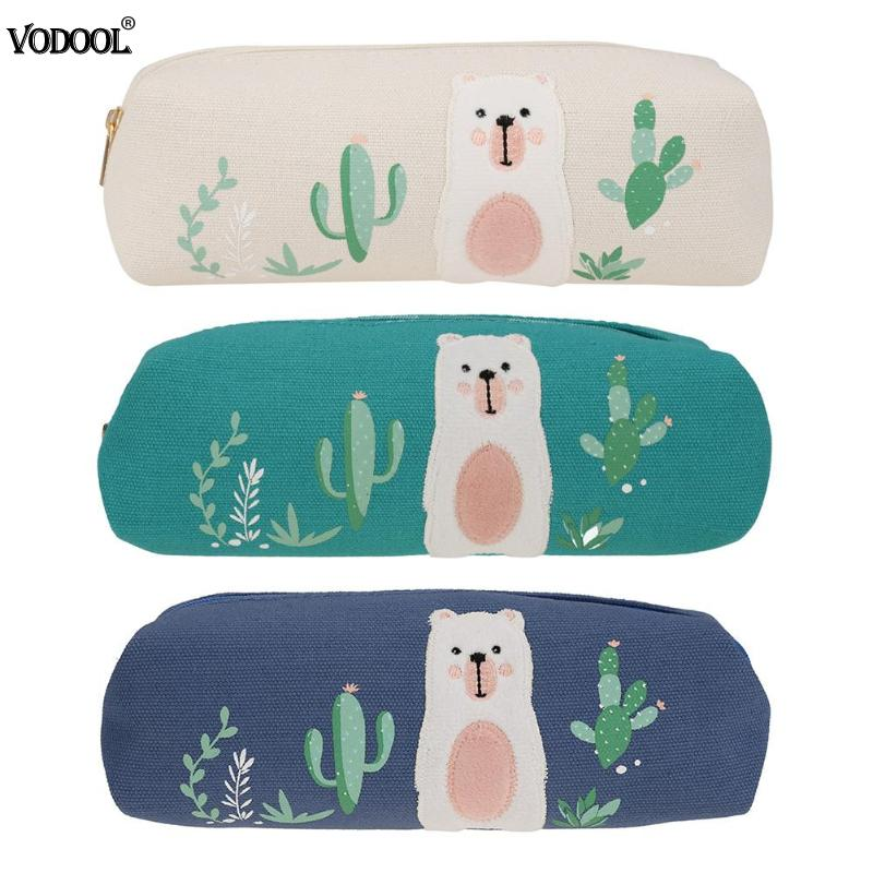 Cute Bear Print Women Canvas Pencil Case Cosmetic Casual Zipper Mini Clutch Cartoon Pencil Bag Stationery цены онлайн