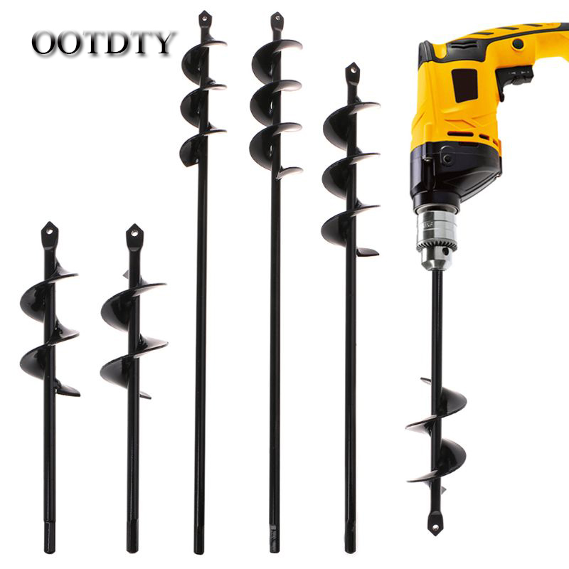 OOTDTY Black Home Yard Garden Flower Plant Farm Planting Auger Digger Twist Spiral Bit Digging Holes Drill Bit Tools