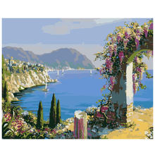 WEEN Blue Seaside City -DIY Painting By Numbers, Acrylic Paint, Canvas For Wall Decoration Picture, Paint Numbers