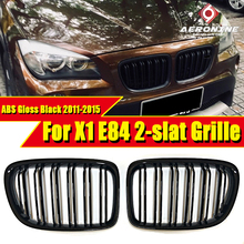 цены на 2 Piece X1 E84 Front Grille Grill ABS Gloss Black For X Series X1M Double Slats Front Bumper Kidney Grille Auto Car styling 15-  в интернет-магазинах