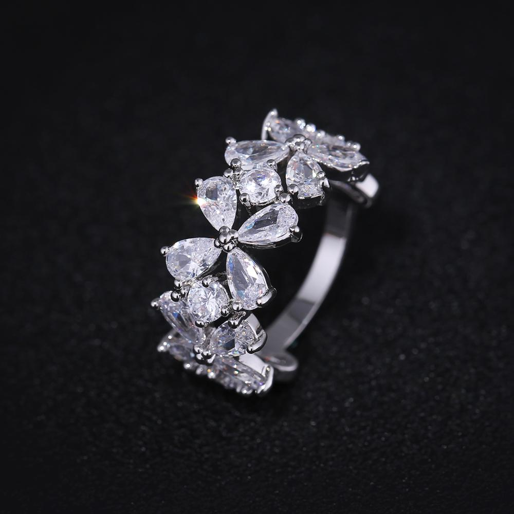 Spring 2018 New Fashion Real copper women rings Clover Design AAA Cubic Zirconia flower Ring for women Gift J02783 in Rings from Jewelry Accessories