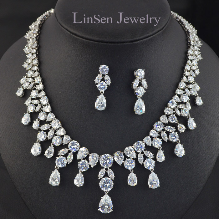New Design White Blue Red Green Luxury Wedding Jewelry SetAAA CZ Stone Necklace Earring Set For Bride Party In Sets From Accessories On