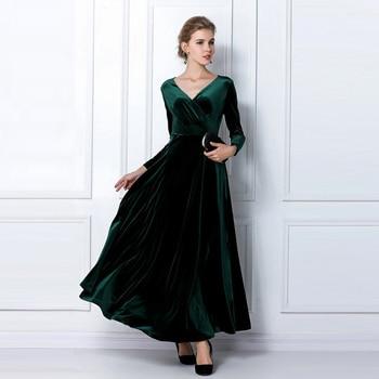 ALABIFU Autumn Winter Dress Women 2019 Casual Vintage Ball Gown Velvet Dress Plus Size 3XL Sexy Long Party Dress Vestidos 3