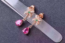 natural pink topaz stone drop earrings 925 silver Natural gemstone earring women romantic Butterfly shape fashion drop Earrings