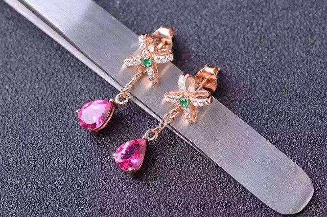 Natural Pink Topaz Stone Drop Earrings 925 Silver Gemstone Earring Women Erfly Shape Fashion