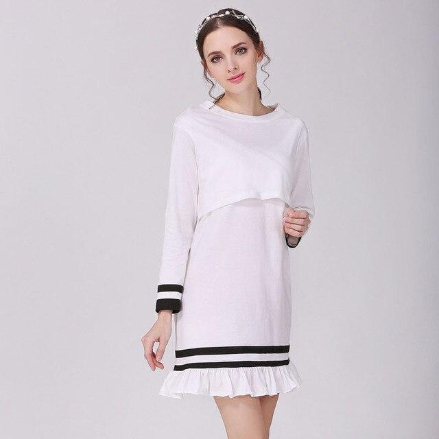843eca18c Primavera Verano moda maternidad vestidos para las mujeres ropa de manga  larga algodón enfermería lactancia ropa