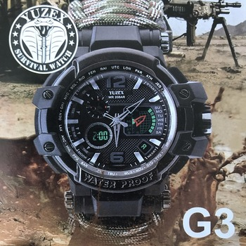EDC Outdoor Camping Multi-functional watch survival watch Compass Thermometer Rescue Rope Paracord Bracelet Equipment Tools kit