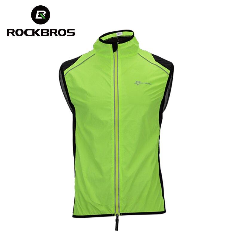 ROCKBROS Reflective Cycling Vests Sleeveless Breathable Men's Waistcoat Cycling Jackets Road MTB Bicycle Running Top Clothing mint green casual sleeveless hooded top
