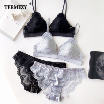 Thin Cotton Women Lingerie Sexy Embroidery Lace Underwear Sets High Quality Bra Set 3/4 Cup Brand Sexy Intimates Bra & Brief Set 1