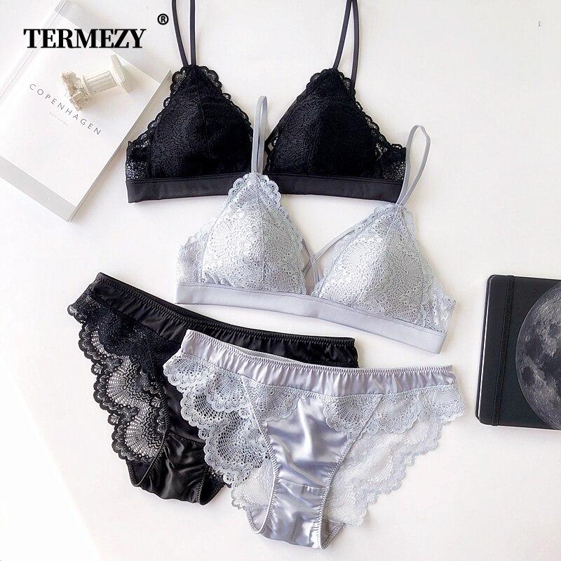 703e54cc5b6a Ropa interior de algodón fino de mujer lencería Sexy bordado de encaje  conjuntos de sujetador de alta calidad 3/4 Copa marca Sexy Intimates ...