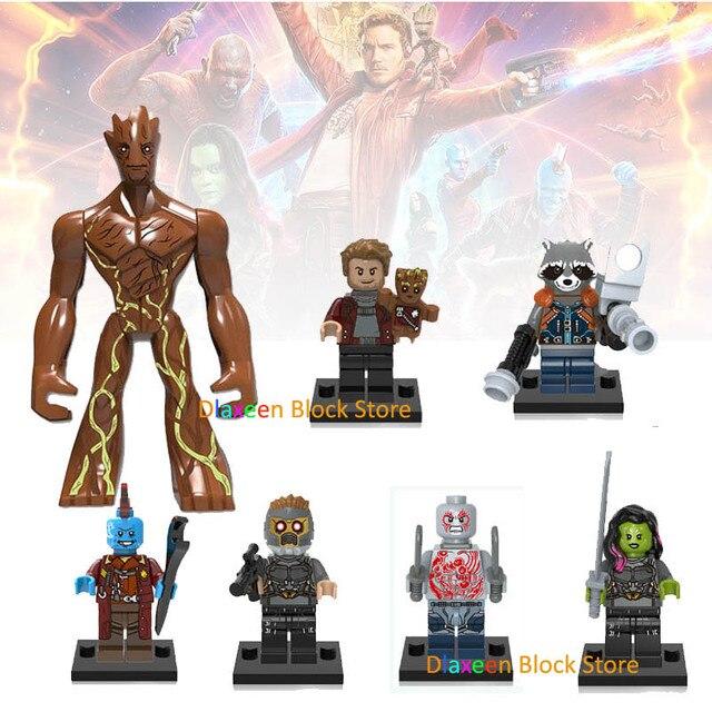 Стражи Галактики фигурки героев ракеты енот Звездный лорд Дракс Грут строительные блоки игрушка совместимы legoINGlys Звездные войны