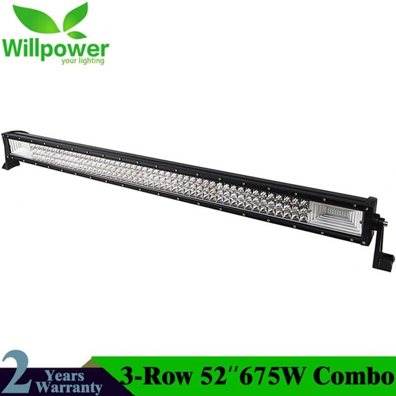 52 pollice 7D 675 w LED Bar Luce del Lavoro del LED Bar Luce di Azionamento del LED Fascio di Luce Offroad Barca Auto Trattore camion 4x4 SUV ATV 12 v 24 v