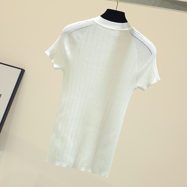shintimes Thin Knitted White T Shirt Button Short Sleeve Tshirt Women 2020 Summer Solid Casual T-Shirt Female Tee Shirt Femme