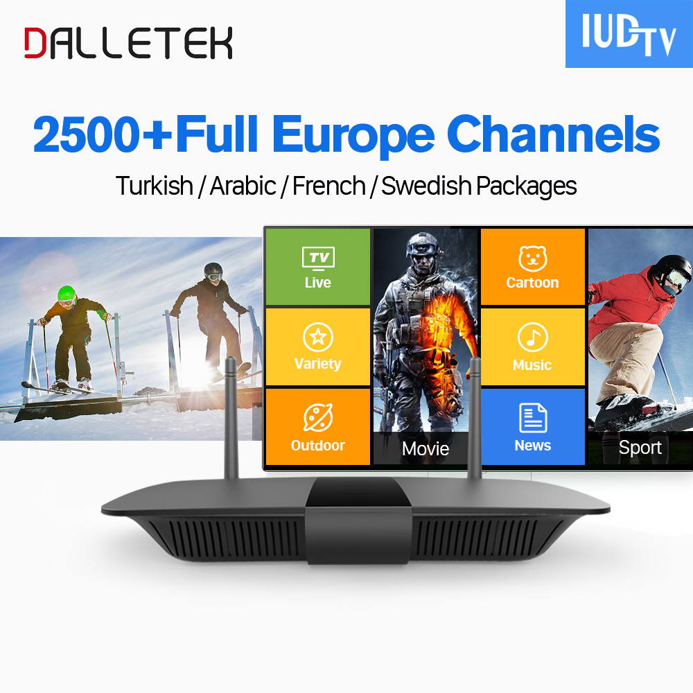 цена на Dalletektv Europe IPTV Box Android 6.0 IUDTV 2500 Channels VOD Movie VIP Sports IPTV Italy Germany Spain Sweden IPTV Top Box