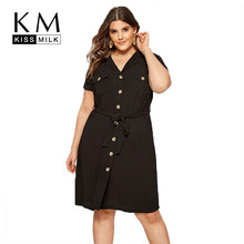 Kissmilk Plus Size Women Dress Solid Black Shirt Style Natural Waist Single-breasted With Pocket