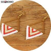 Go2boho дропшиппинг серьги бисер Miyuki бусины Boho ювелирные изделия Геометрия треугольники узор для женщин Подарки Золото Нержавеющая сталь