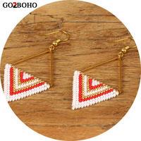 Go2boho Dropshipping Earrings MIYUKI Seed Beads Boho Jewelry Earring Geometry Triangle Pattern Women Gifts Gold Stainless Steel