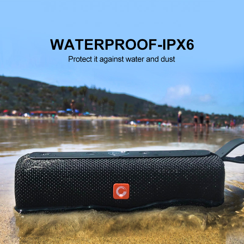 doss e-go ll outdoor portable bluetooth speaker with ipx6 waterproof built-in microphone for pc
