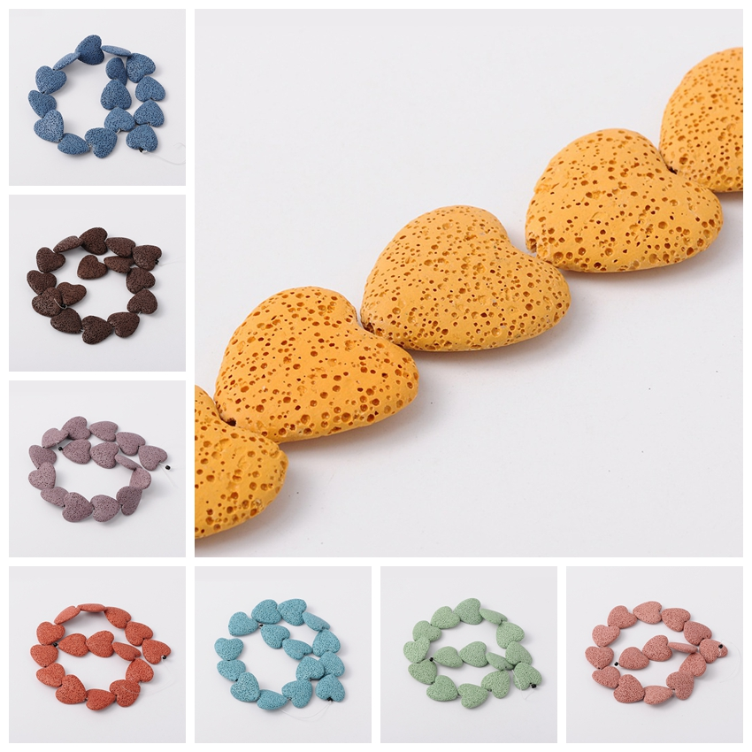 27x28x8mm Synthetic Lava Bead Semi Jewelry Making Loose Beading Strands Heart Dyed Gold