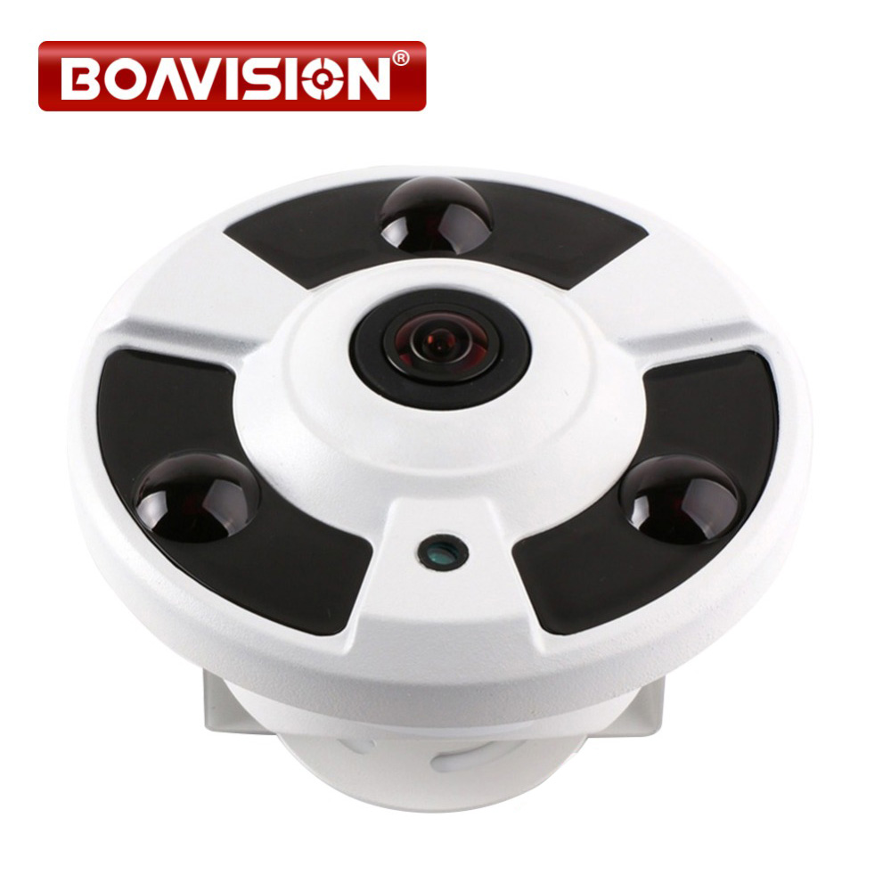 2MP 1080P / 3MP / 4MP IP Camera 180/360 Degrees Panoramic Night Vision IR 20m Onvif,Metal Housing Fisheye 5MP Lens POE Optional