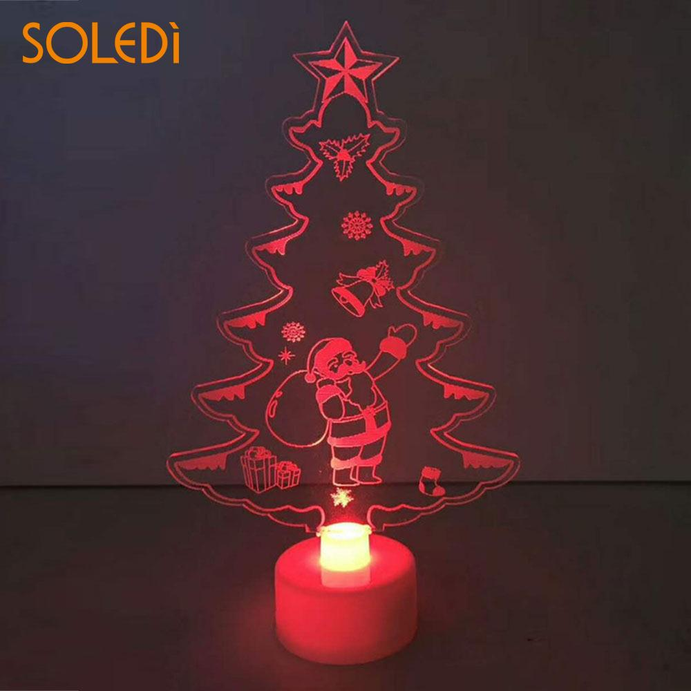 Us 1 08 21 Off Acrylic Durable Color Changing Xmas Tree Home Night Light Lamp Creative Led Christmas Tree Cute Perfect Present Dorpshipping In Trees
