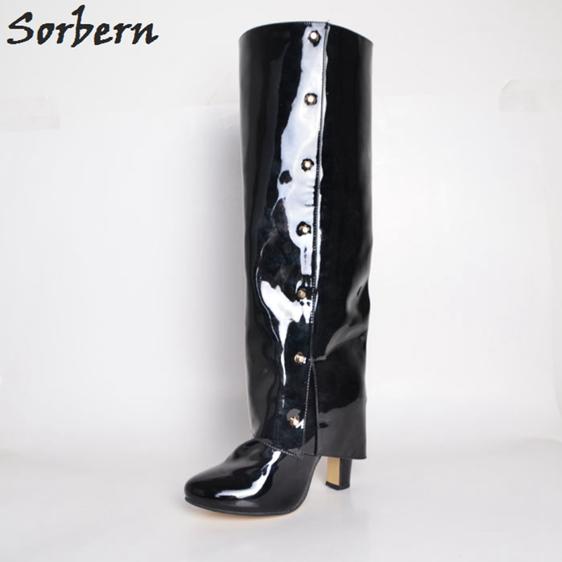 Sorbern Patent Leather Knee High Women Boots Pointed Toe Rivets Square High Heels Custom Small Size 33 Winter Shoes Women 2018