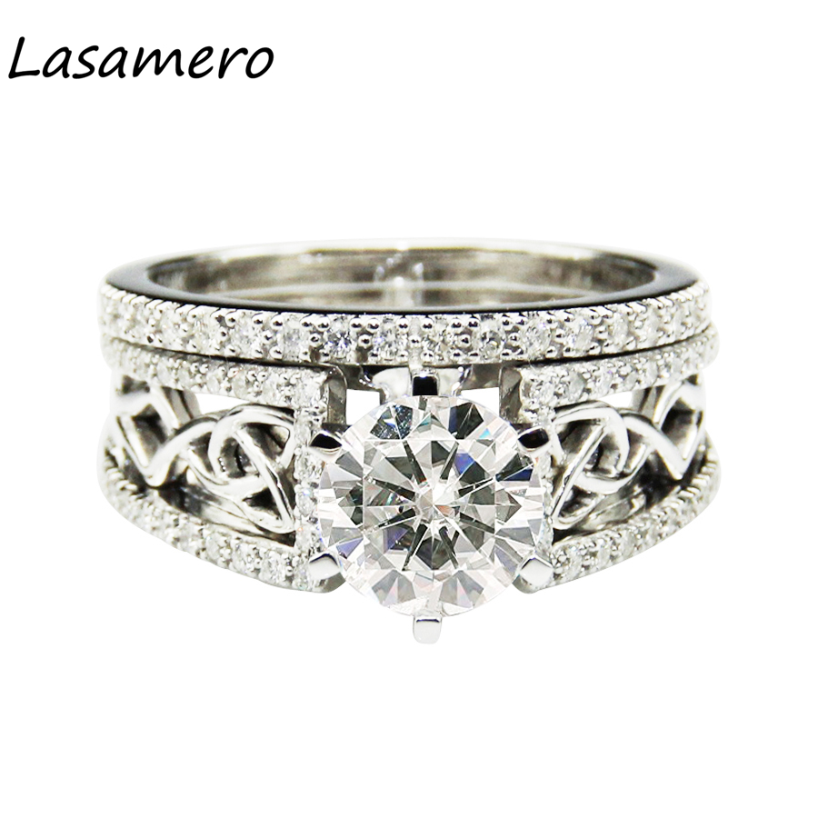 LASAMERO Luxury 1.5CT Round Cut Simulated Diamond 925 Sterling Silver Bridal Sets Romantic Crown Accents Engagement Wedding RingLASAMERO Luxury 1.5CT Round Cut Simulated Diamond 925 Sterling Silver Bridal Sets Romantic Crown Accents Engagement Wedding Ring