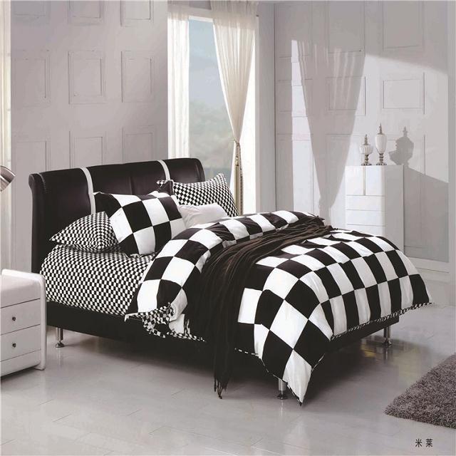Unique Design Black And White Checkered Bedroom Supplies 100cotton