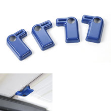 4PCS/SET blue ABS Inner Car Top Roof Handles Cover Trim Cap Decoration For Wrangler Rubicon JK 2008-2016