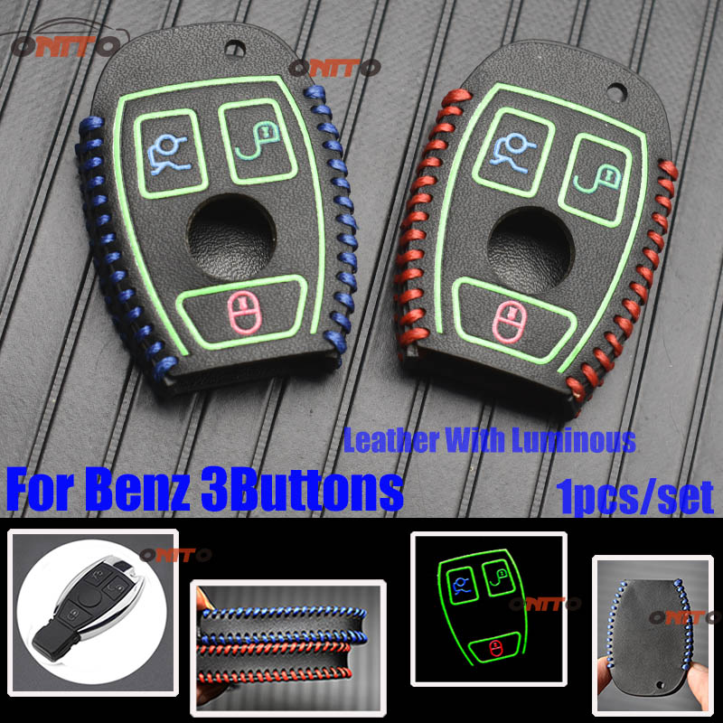 HOT 1pcs Car Key Case Covers Shell 3Buttons Leather Luminous Protection for Mercedes Benz W203 W204 W210 W211 W205 W124 W219 image
