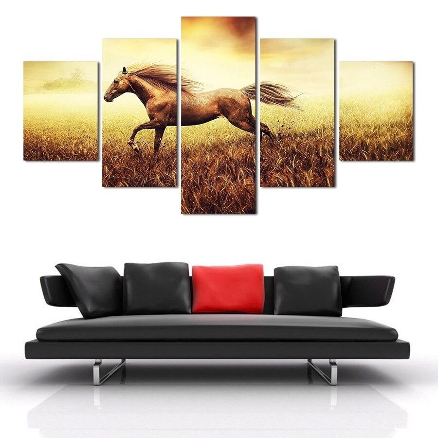 HD роспись Современная лошадь Масляные картины 5 панель/Набор Холст Искусство картинки для гостиной абстрактные животные настенные украшен