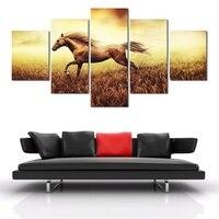 HD Malowane Nowoczesne Obrazy Olejne Konia 5 Panel/Set Płótno Zdjęcia Living Room Streszczenie Zwierząt Draperie dekoracji