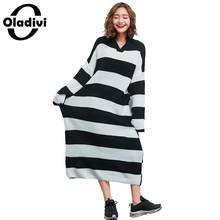 06e35aff10d Oladivi Plus Size Women Casual Loose Hooded Sweater Dress Ladies Striped  Knitted Dresses Female Long Pullover Tunics Vestidos