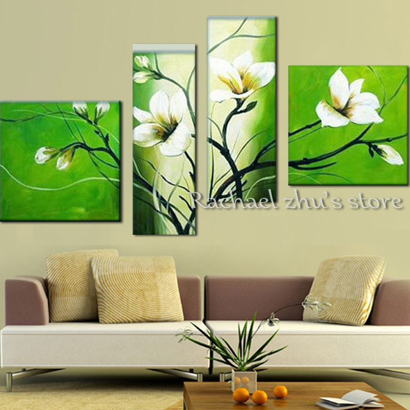 Hand Painted Abstract White Magnolia Oil Painting On Canvas Four ...