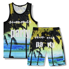 Two Pieces Man Summer 3D Print Sea Beach Party Casual Tank Top Sets Sleeveless T shirt+Shorts Mens Fitness Clothing Vest Set