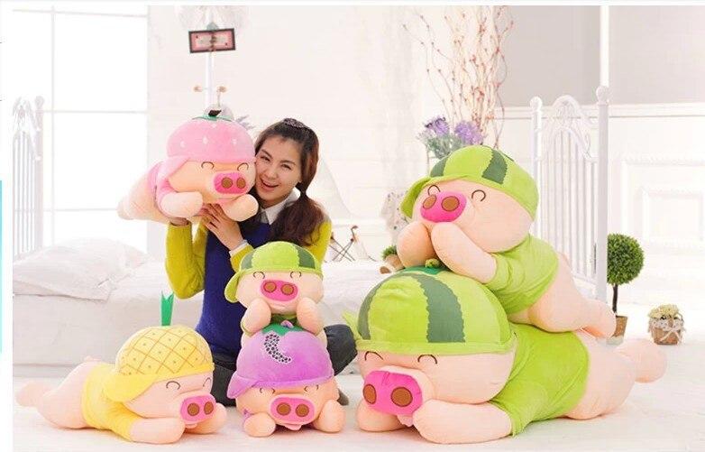 Coussin de cochon doux en peluche de cochon de conception de fruits, jouet d'oreiller de jet, cadeau d'anniversaire p9057